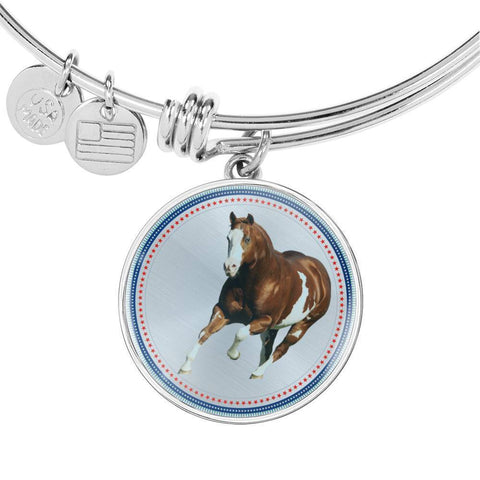 American Paint Horse Print Circle Pendant Luxury Bangle-Free Shipping