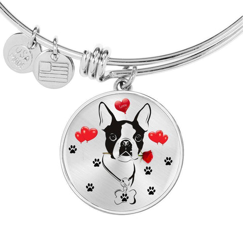Cute Boston Terrier Print Circle Pendant Luxury Bangle-Free Shipping