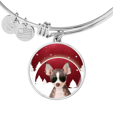 Chihuahua Print Circle Charm Bangle-Free Shipping