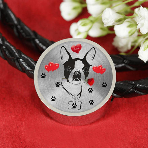 Cute Boston Terrier Print Circle Charm Leather Bracelet-Free Shipping