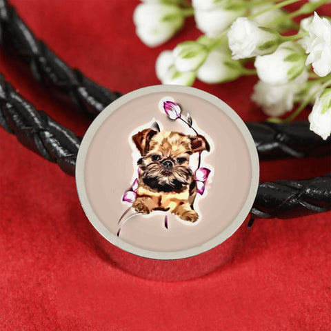 Brussels Griffon Print Circle Charm Leather Bracelet-Free Shipping