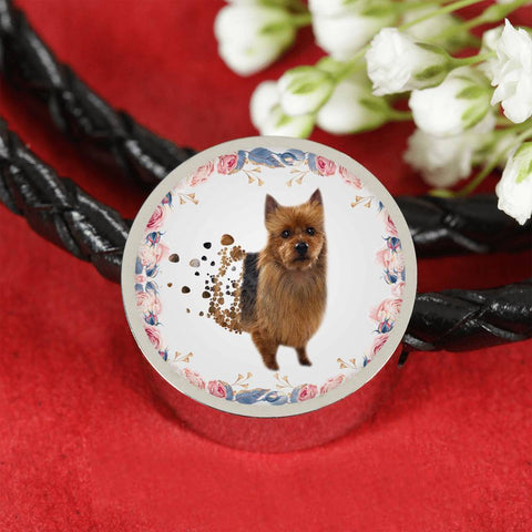 Amazing Australian Terrier Print Circle Charm Leather Bracelet-Free Shipping