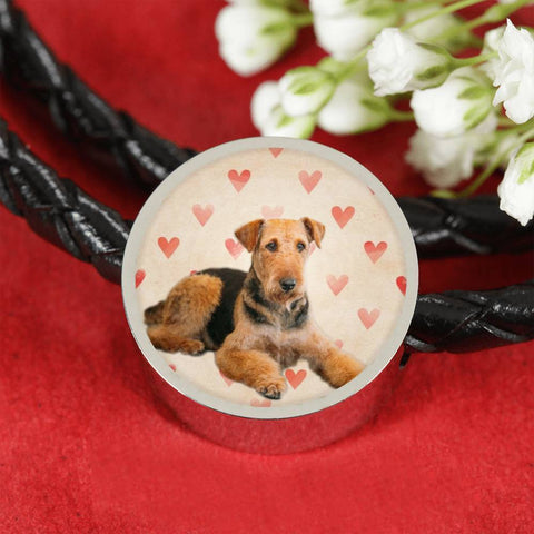 Airedale Terrier Print Luxury Circle Charm Leather Bracelet-Free Shipping
