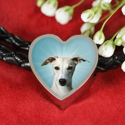 Whippet Dog Print Heart Charm Leather Bracelet-Free Shipping