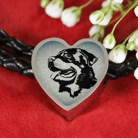 Rottweiler Dog Black&White Art Print Heart Charm Leather Woven Bracelet-Free Shipping