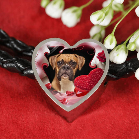 Boxer Dog Print Heart Charm Leather Bracelet-Free Shipping