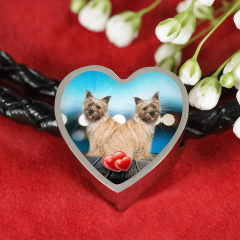 Cairn Terrier Print Heart Charm Leather Bracelet-Free Shipping