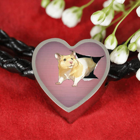 Lovely Hamster Print Heart Charm Leather Woven Bracelet-Free Shipping