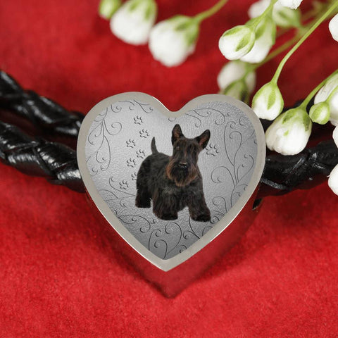 Scottish Terrier Print Heart Charm Leather Bracelet-Free Shipping