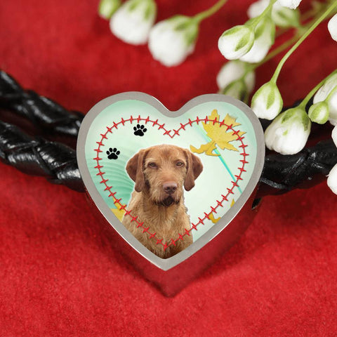 Wirehaired Vizsla Print Heart Charm Braided Bracelet-Free Shipping