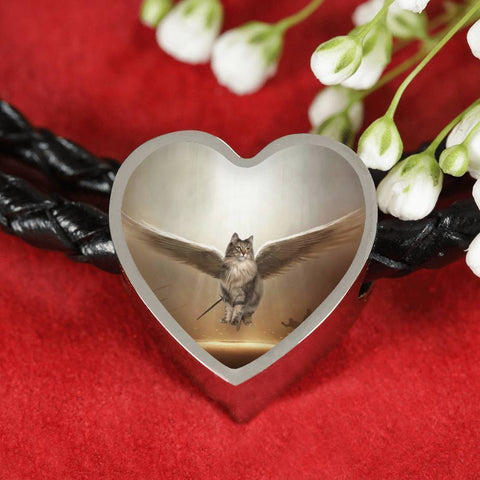Norwegian Forest Cat Print Heart Charm Leather Bracelet-Free Shipping