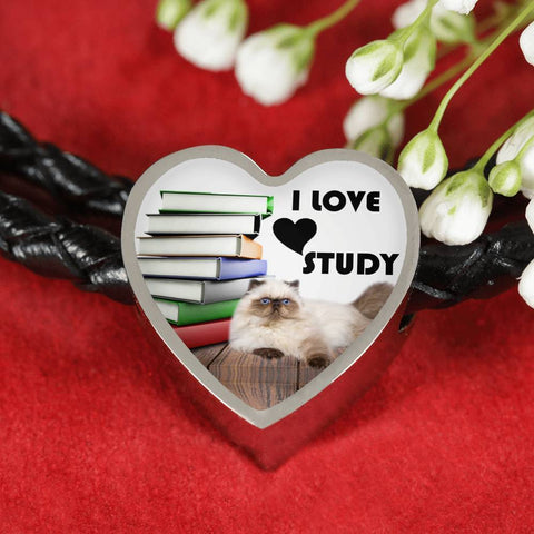 Himalayan Cat Print Heart Charm Leather Bracelet-Free Shipping