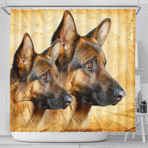 German Shepherd On Yellow Print Shower Curtains-Free Shipping