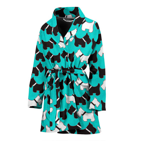 Scottish Terrier Dog Pattern Print Women's Bath Robe-Free Shipping
