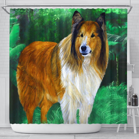 Rough Collie Dog Watercolor Art Print Shower Curtains-Free Shipping