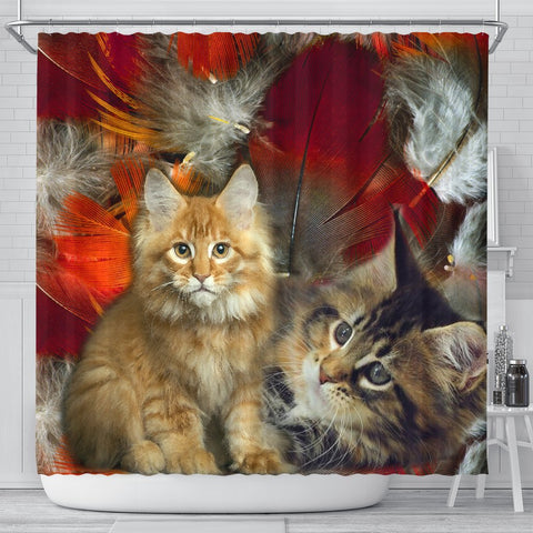 Cute Maine Coon Print Shower Curtains-Free Shipping