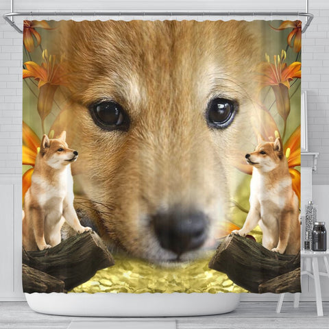 Shiba Inu Dog Print Shower Curtains-Free Shipping