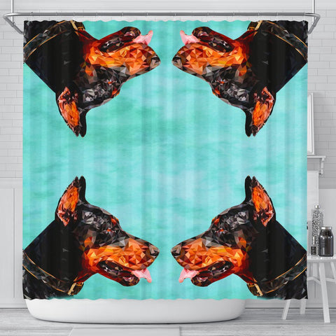 Doberman Pinscher Dog Vector Art Print Shower Curtains-Free Shipping