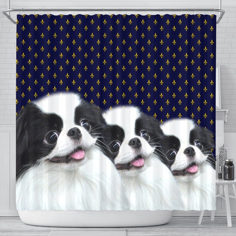 Cute Japanese Chin Dog Print Shower Curtains-Free Shipping