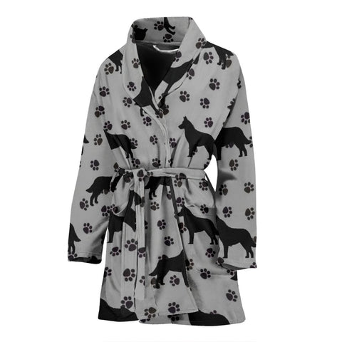 Belgian Malinois Dog Paws Pattern Print Women's Bath Robe-Free Shipping