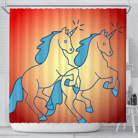 Unicorn Star Print Shower Curtain-Free Shipping