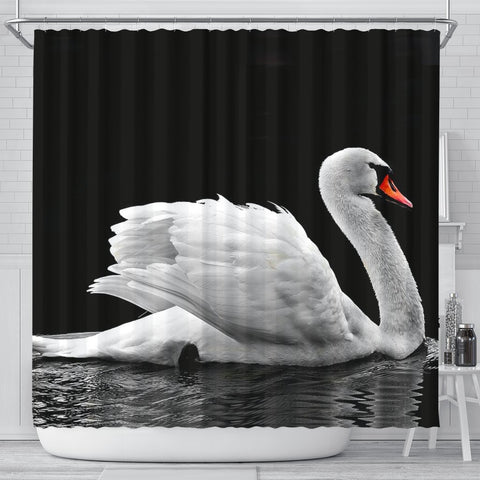 Lovely Swan Bird Print Shower Curtains-Free Shipping