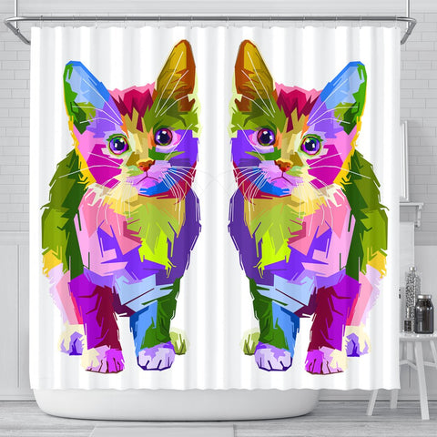 Lovely Cat Colorful Art Print Shower Curtains-Free Shipping