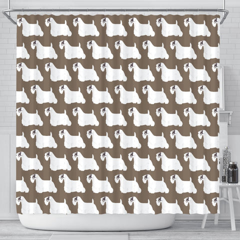 Sealyham Terrier Dog Pattern Print Shower Curtains-Free Shipping