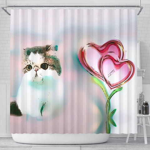 Exotic Shorthair Cat Print Shower Curtain-Free Shipping