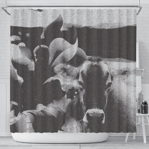 Black&White Brown Swiss cattle (Cow) Print Shower Curtain-Free Shipping