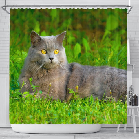 Chartreux Cat Nature Print Shower Curtain-Free Shipping
