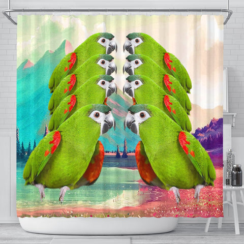 Red Shouldered Macaw Parrot Print Shower Curtains-Free Shipping