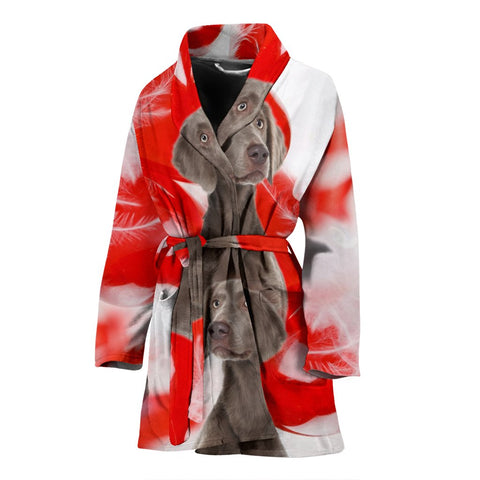 Cute Weimaraner Print Women's Bath Robe-Free Shipping