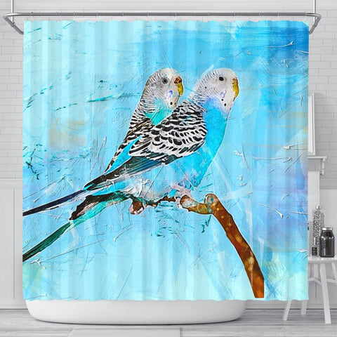 Blue Budgie Parrot (Common Parakeet) Print Shower Curtains-Free Shipping