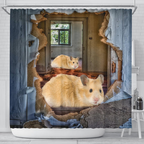 Golden Hamster 3D Print Shower Curtains-Free Shipping