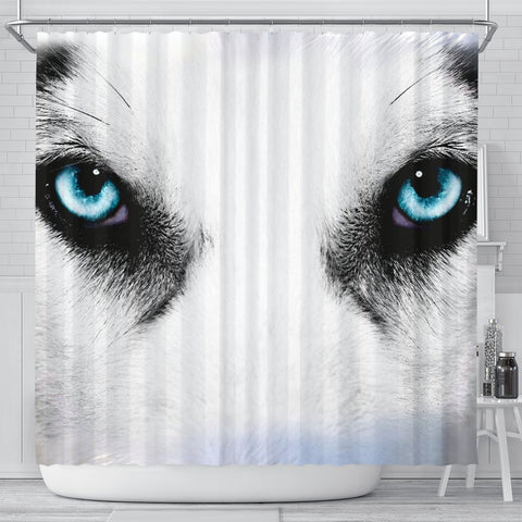 Siberian Husky Face Print Shower Curtains-Free Shipping