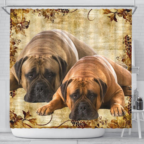 Bullmastiff Print Shower Curtains-Free Shipping