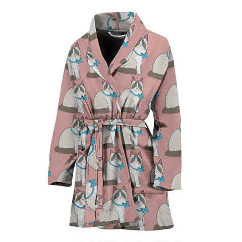 Ragdoll Cat Pattern Print Women's Bath Robe-Free Shipping