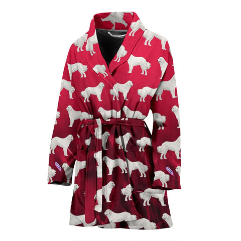 Great Pyrenees Dog Pattern On Red Print Women's Bath Robe-Free Shipping