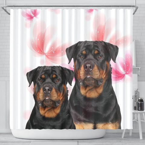 Rottweiler On White Print Shower Curtains-Free Shipping