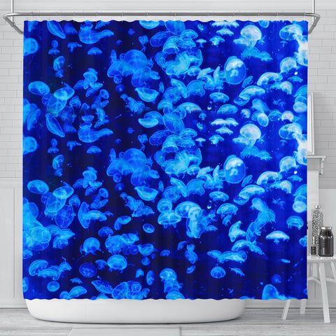 Jelly Fish Blue Print Shower Curtains-Free Shipping