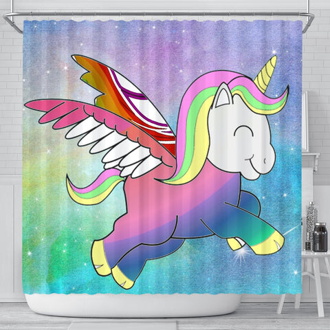 Cute Smiling Unicorn Print Shower Curtain-Free Shipping