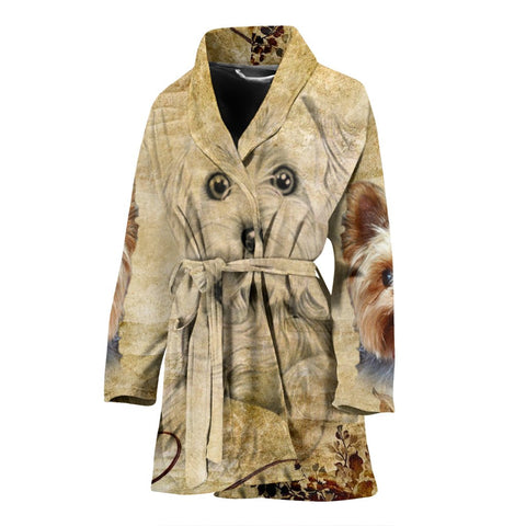 Yorkshire Terrier Print Women's Bath Robe-Free Shipping