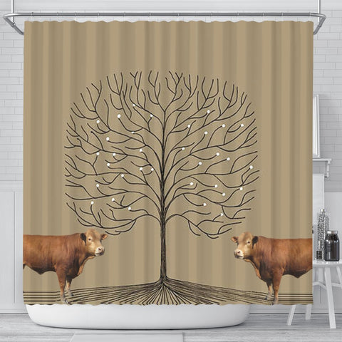 Gelbvieh Cattle (Cow) Print Shower Curtain-Free Shipping