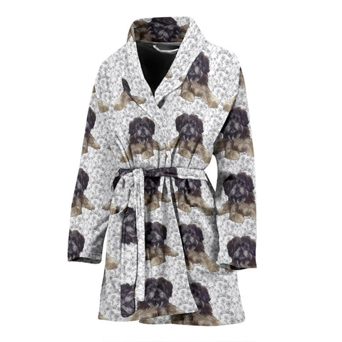 Amazing Affenpinscher Dog Pattern Print Women's Bath Robe-Free Shipping