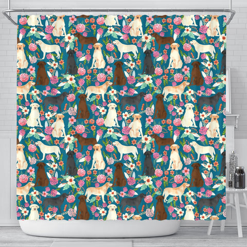 Labrador Dog Floral Print Shower Curtain-Free Shipping