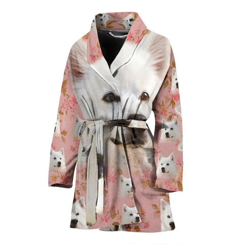 American Eskimo Dog On Pink Print Women's Bath Robe-Free Shipping