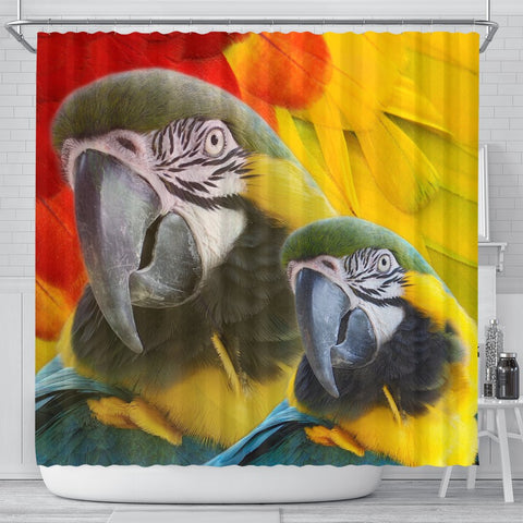 Blue and Yellow Macaw Print Shower Curtain-Free Shipping