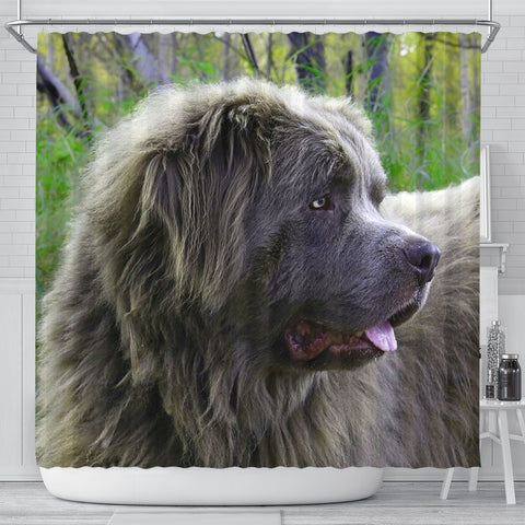 Grey Newfoundland Dog Print Shower Curtain-Free Shipping