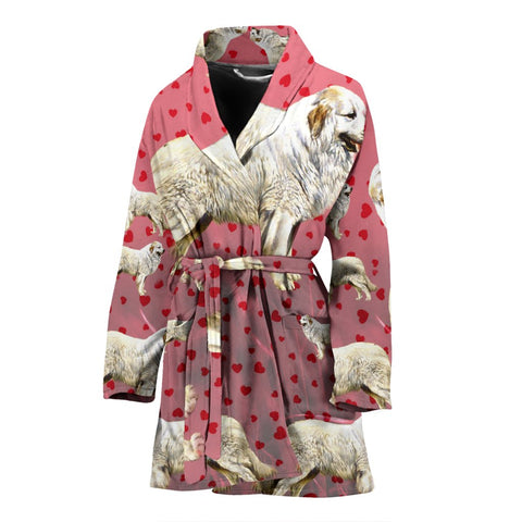 Great Pyrenees Dog Art Print Women's Bath Robe-Free Shipping